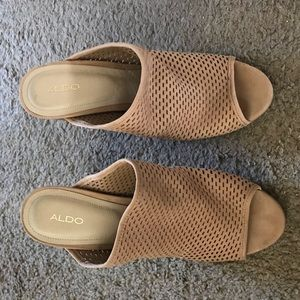 Aldo suede perforated heeled Mules